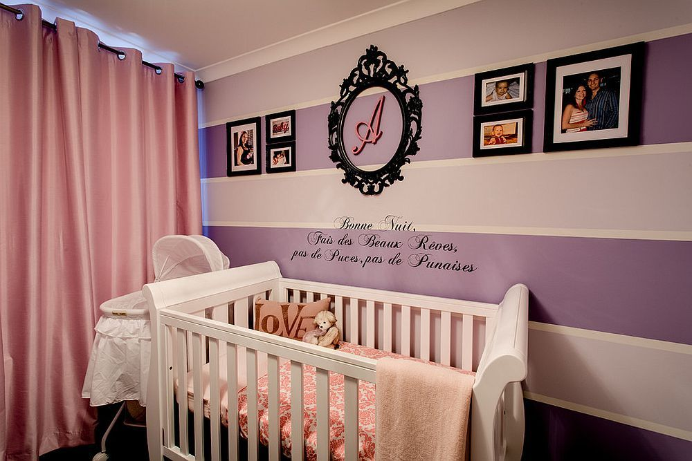 Purple And Pink Baby Girl Nursery With Striped Accent Wall Baby