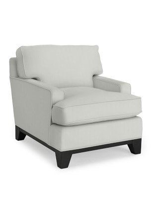 Harrison Chair with Down Blend Cushion, Chunky Cotton, Solid, Snow