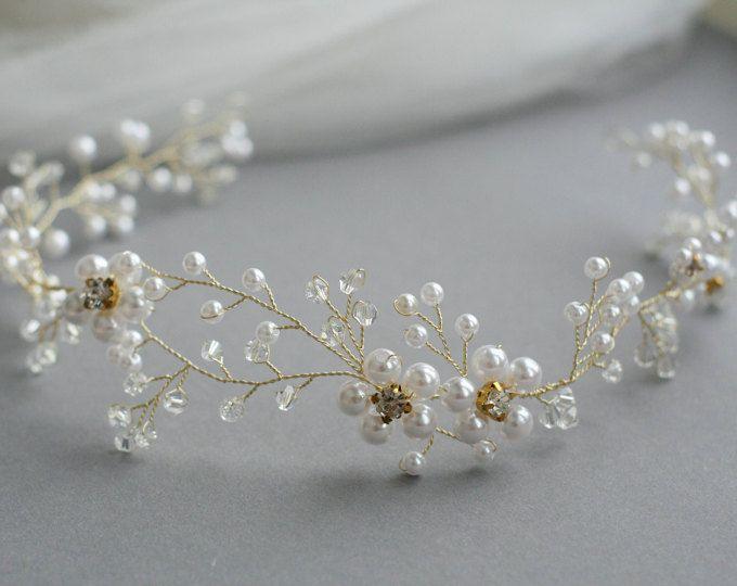 Diadema arte perlas pelo joyas boda comunión novia joyas md07