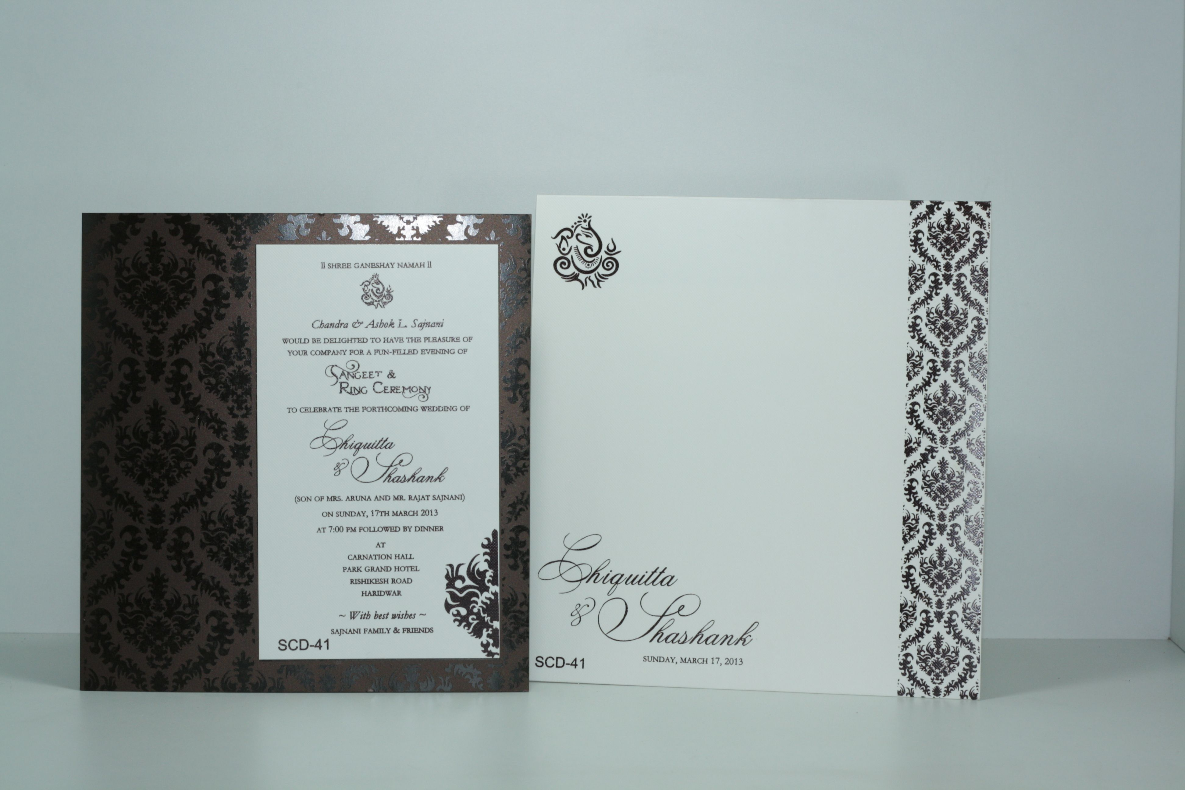 Indian motif single card invitation | wedding invitation | Pinterest ...