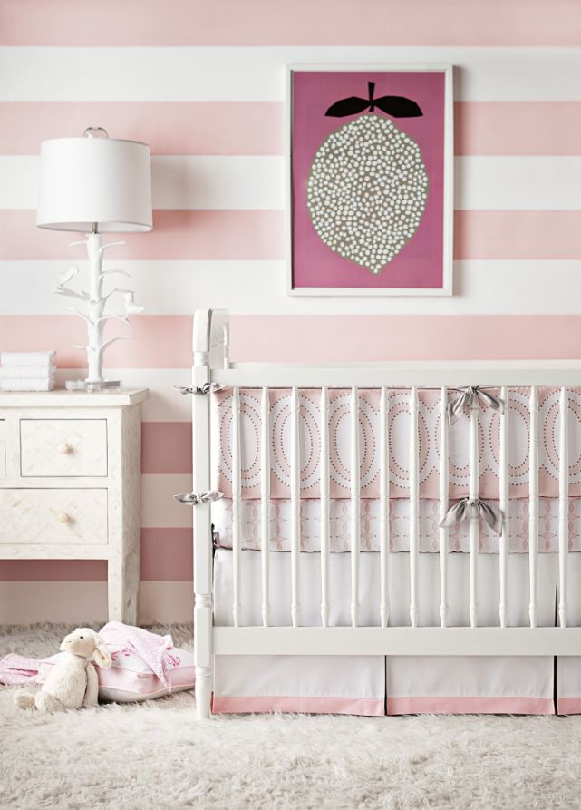 Baby Girl Nursery With Pink And White Stripes On Walls Twoinspiredesign Two Friends Two Design Pers Girl Nursery Wallpaper Baby Wallpaper Pink Striped Walls