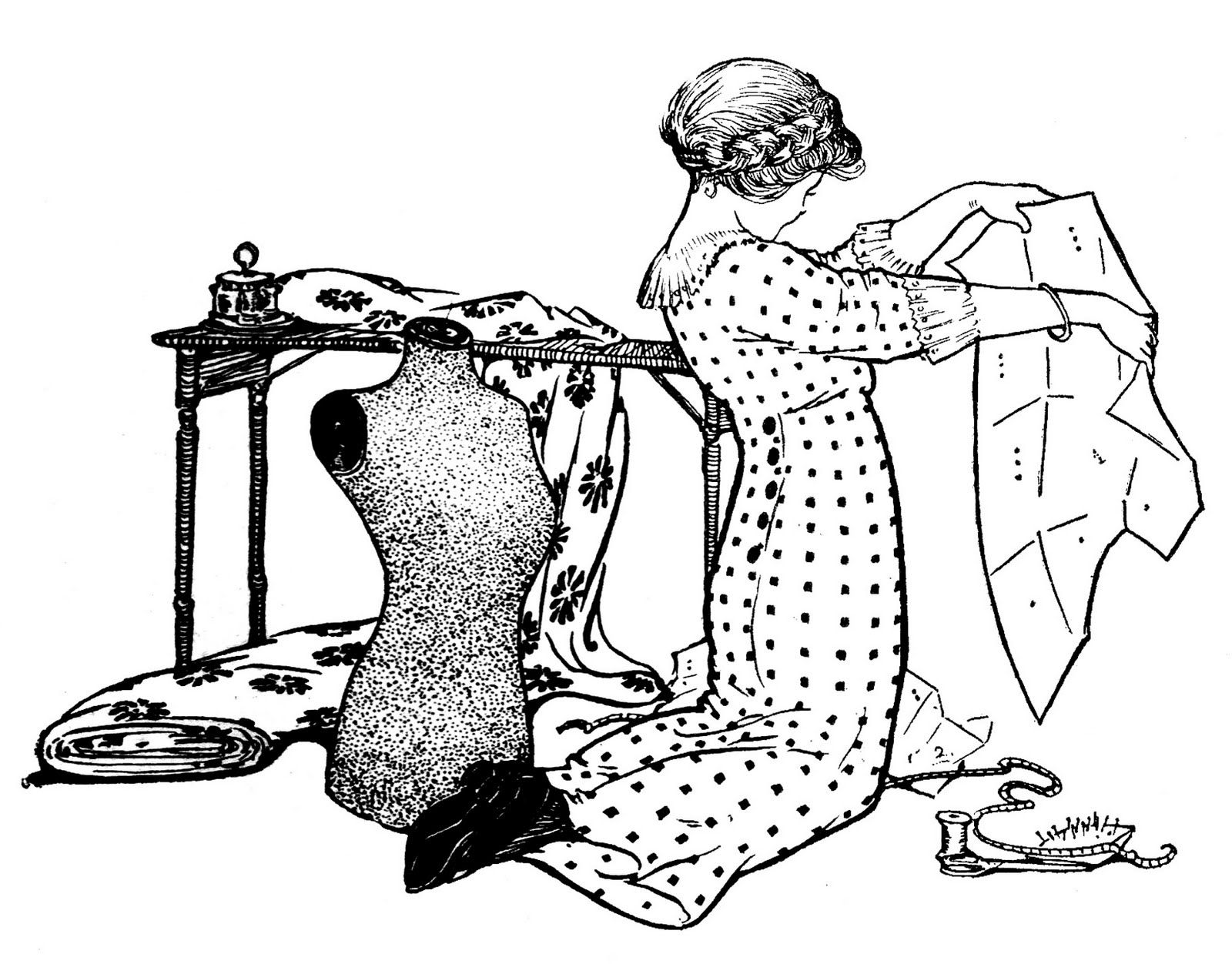 Vintage Sewing Clip Art - Girl with Pattern and Dress Form | Kreativ ...