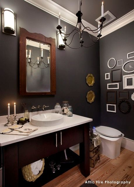 Powder room paint colors walls flint af 560 trim steam for Powder room color ideas