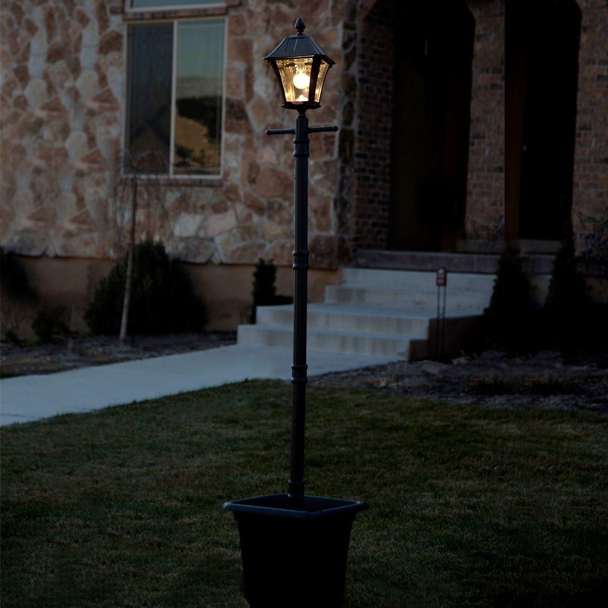 Baytown Bulb Solar Lamp Post With Ez Anchor And Planter Gs 106b Plsg Solar Lamp Post Lamp Post Solar Lamp
