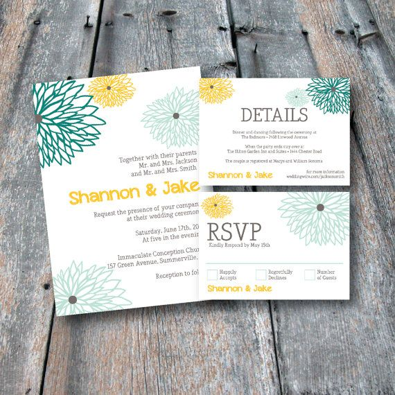 floral wedding invitation rsvp card details card printable digital file on etsy 3000 - Wedding Invitation Details Card
