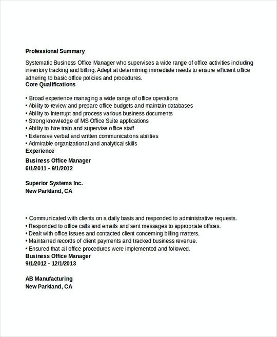 Business Office Manager resume template , Professional Manager