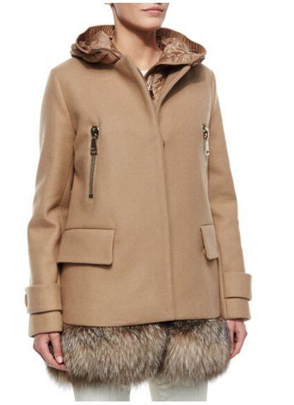 doudoune Moncler Fenelon veste femme hiver fourrure pas cher bei ... ef0bf2ea0df