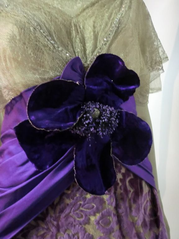 Edwardian Metallic Lace, Lavender Velvet and Satin Gown in Silk. Detail