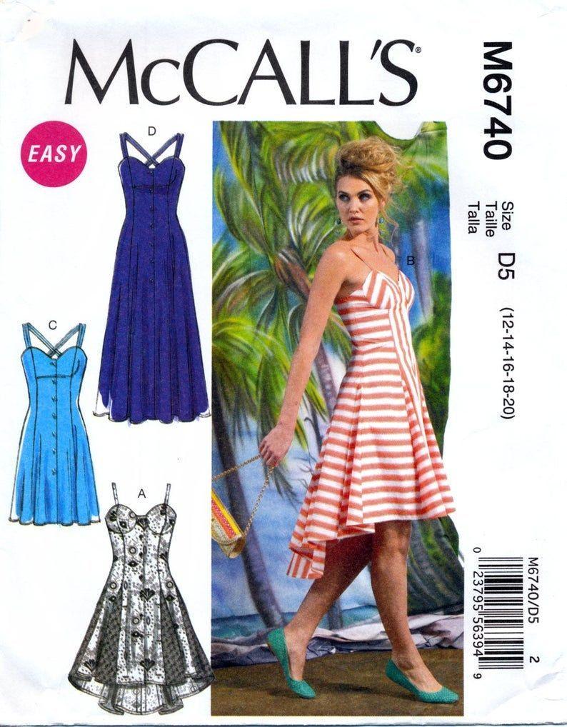 Mccall S M6740 Size 4 6 8 10 12 Woman S Summer Dresses Sleeveless Button Front Princess Seam Summer Dress Patterns Sewing Dresses Summer Dresses For Women [ 1018 x 794 Pixel ]