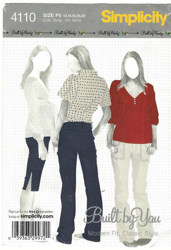 Simplicity Sewing Pattern 4110 Womens Cargo Style Pants Built by ...