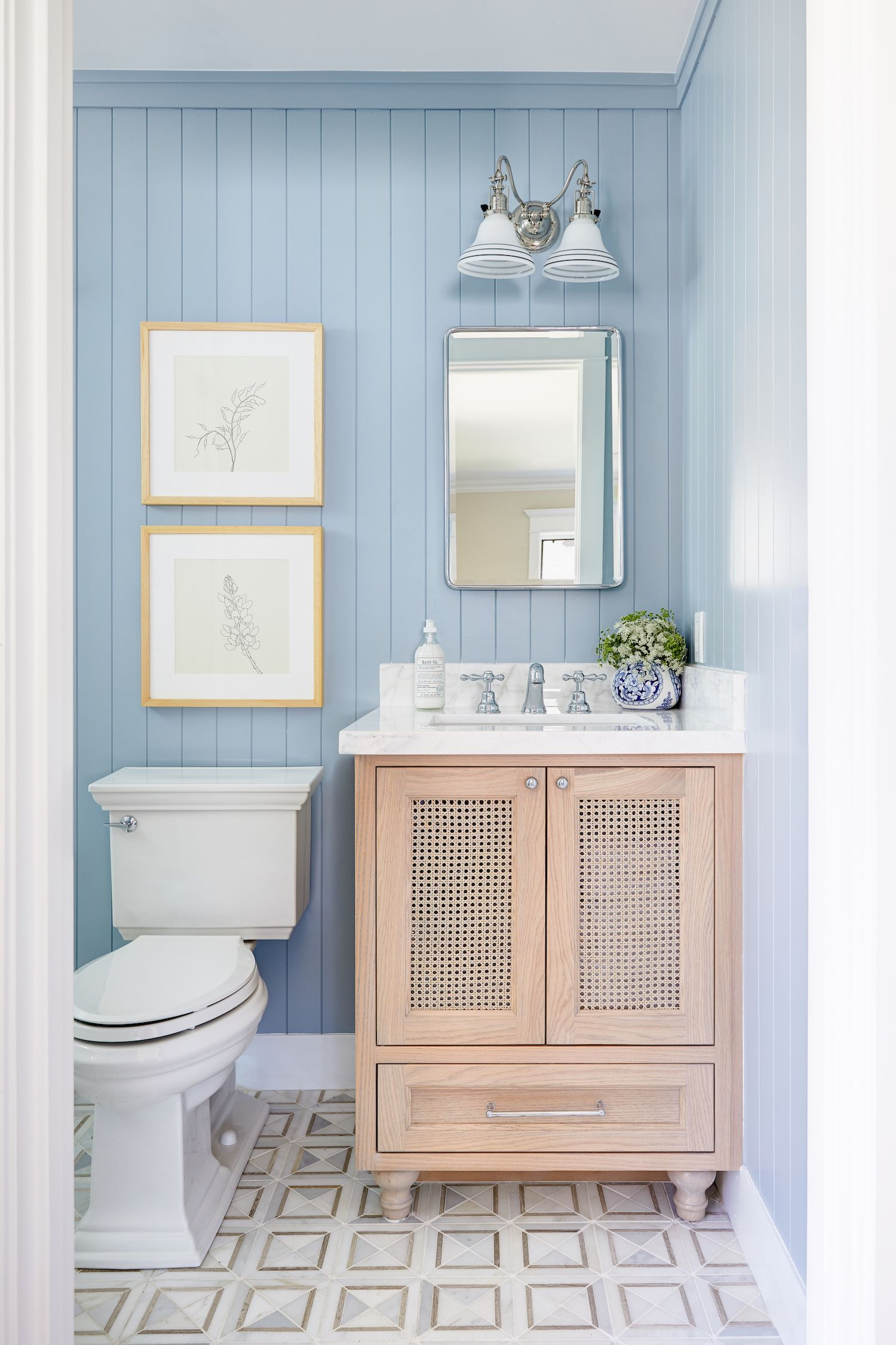 Light Blue Bathroom By Phoenix Interior Designer Lexi Westergard Design The Identite Collective Clien Light Blue Bathroom Blue Bathroom Modern White Bathroom