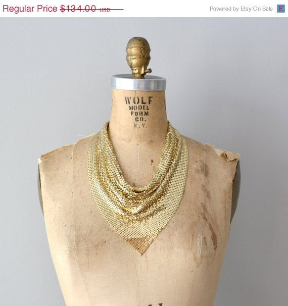 25% OFF SALE Whiting and Davis necklace / gold mesh necklace / Chain Maille drape