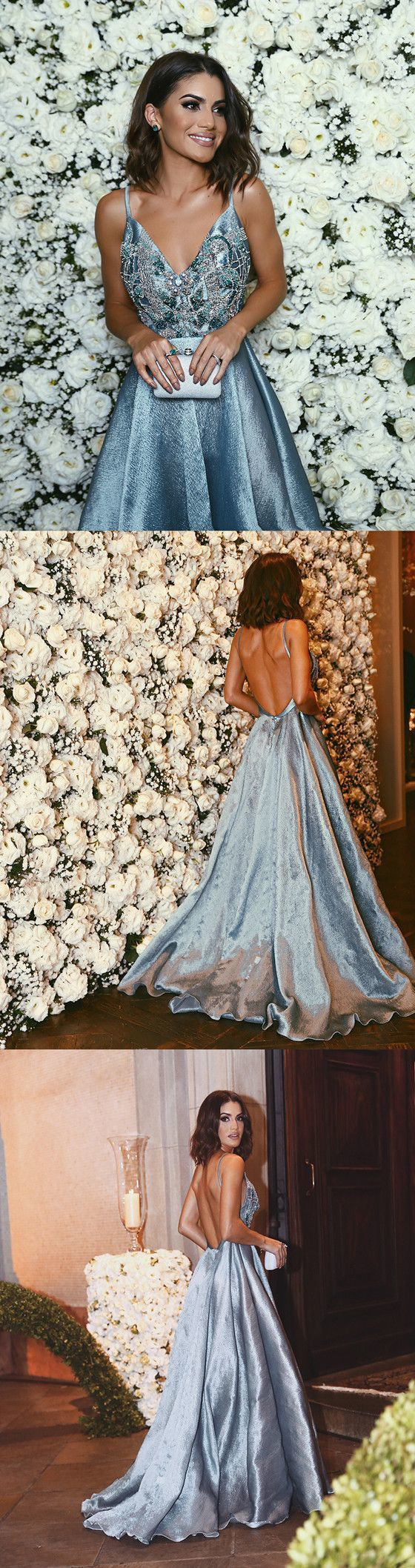 Luxurious aline straps blue formal evening dresssexy backless
