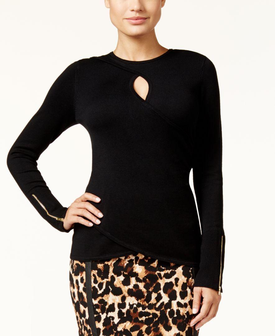 Thalia Sodi Faux-Wrap Keyhole Sweater, Only at Macy's