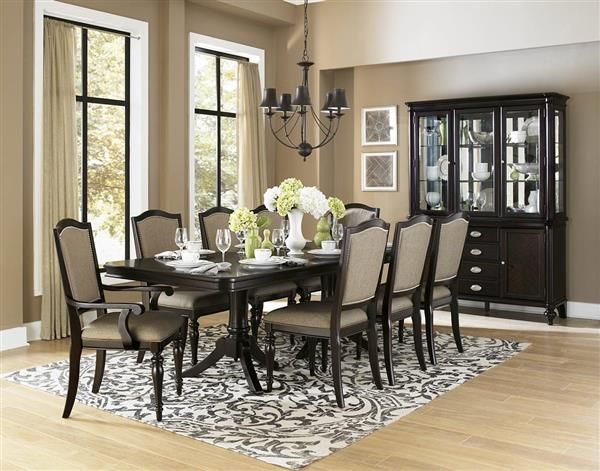 Marston Dark Brown Nutral Black Wood Fabric 9Pc Dining Room Set Interesting Black And Brown Dining Room Sets Review