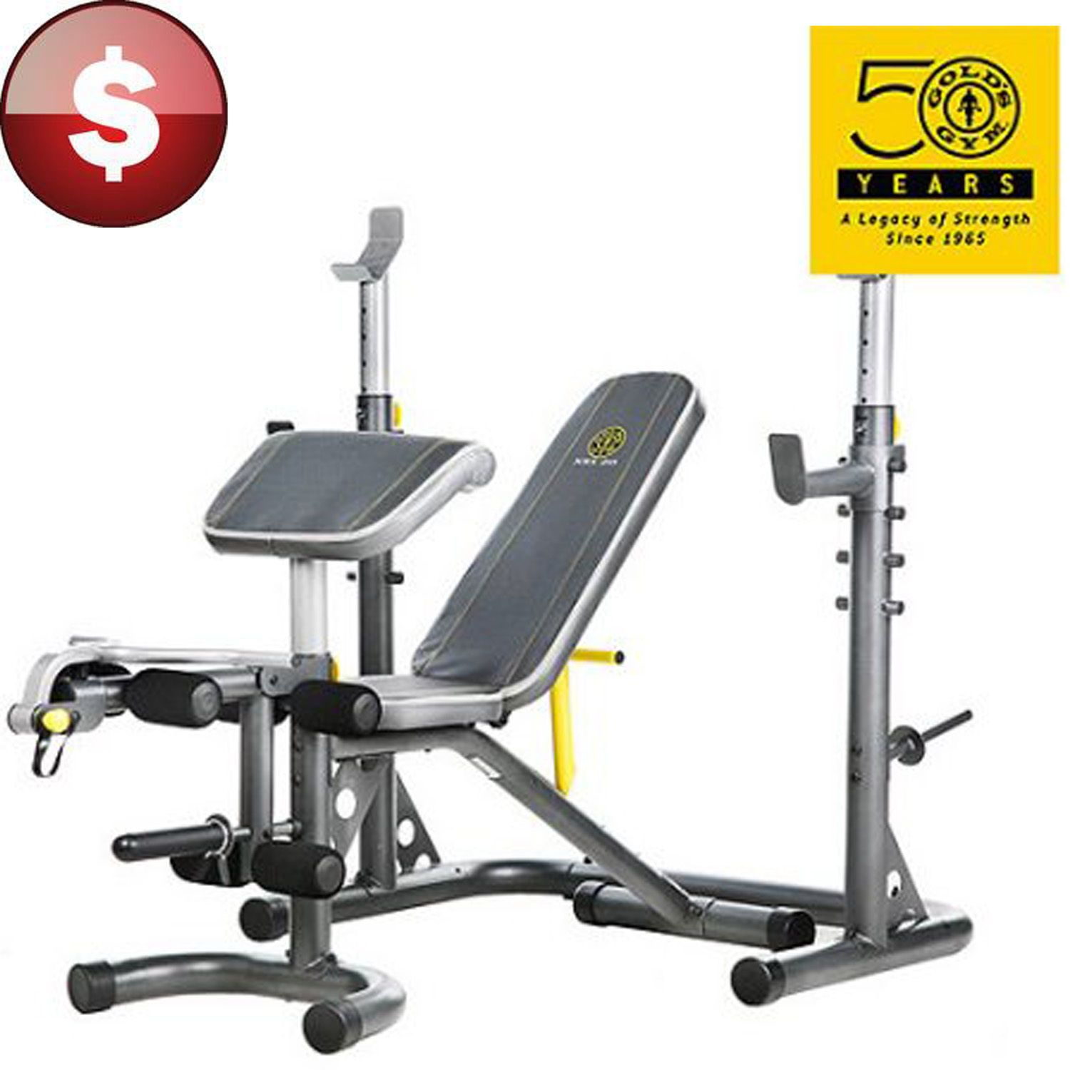 Golds gym bench and rack olympic weight workout