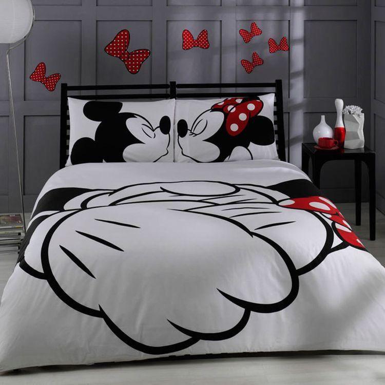 Completo Letto Mickey Minnie Kissing Set Copripiumino Copripiumino Set Di Biancheria Da Letto