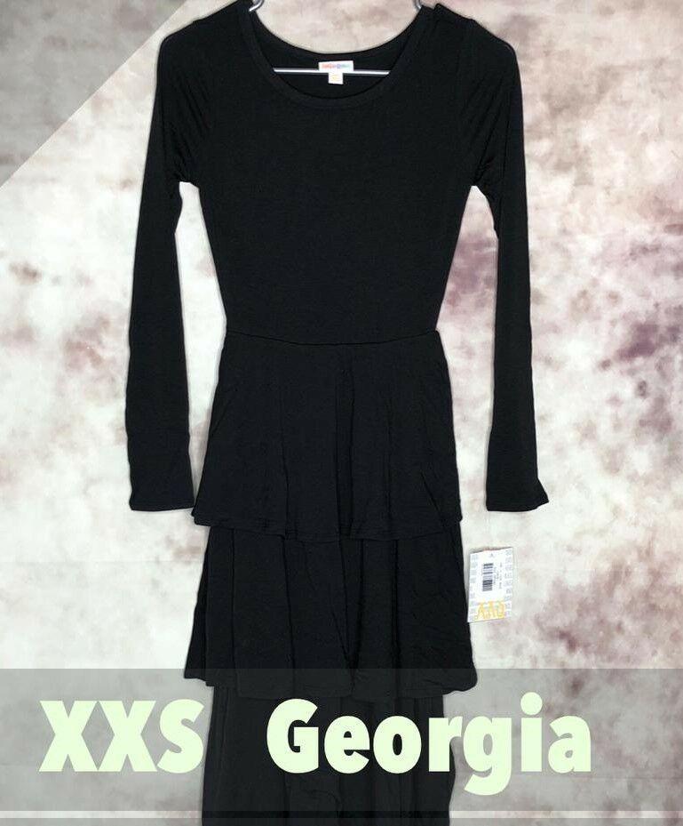 987b93564e366 New LuLaRoe XXS Georgia Dress Long Sleeve 3-Tiered Skirt Solid Black # LuLaRoe