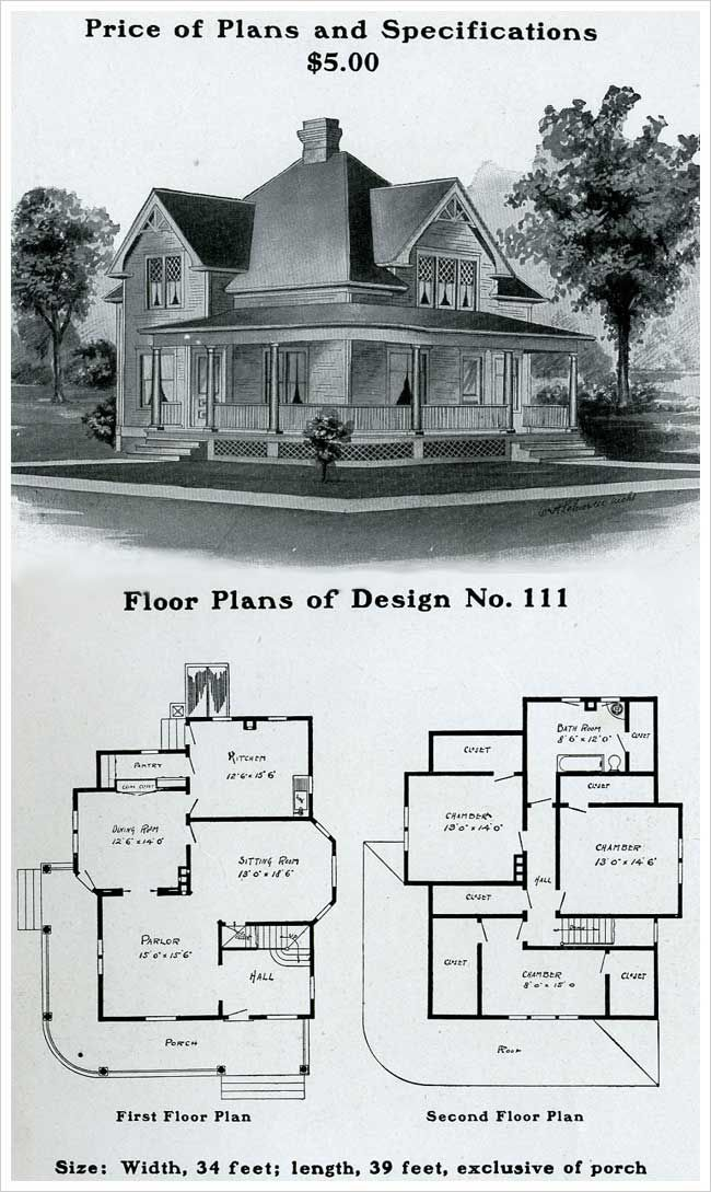 Vintage Farmhouse Plans radford - 1903 - colonial revival, pedimented, full width front