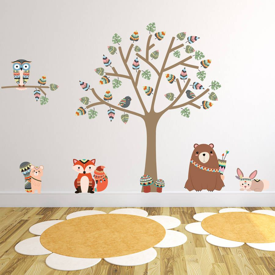 Charming Tribal Woodland Animal Wall Stickers Part 20