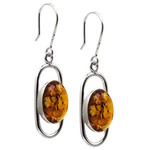 Sterling Silver Amber Oval Modern Earrings *** Check out the image by visiting the link.