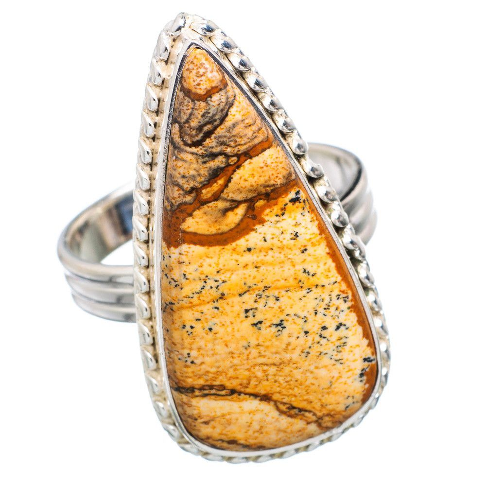 Large Picture Jasper 925 Sterling Silver Ring Size 10.75 RING721416