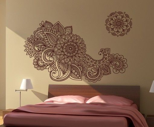 Floral indiano adesivo decorativo vinil paredes - Mandalas para pared ...