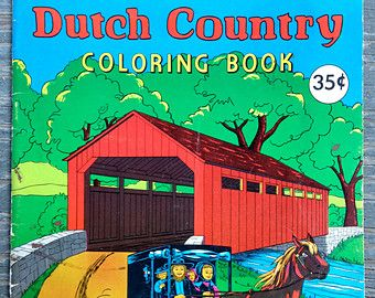 Vintage DUTCH COUNTRY Children\'s COLORING Book 1961 Amish ...