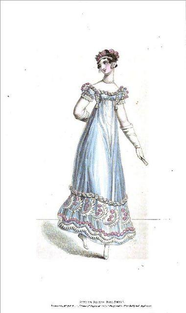 1818 Regency Fashion Plate - Summer Recess Ball Dress (La Belle Assemblee Magazine) by CharmaineZoe, via Flickr