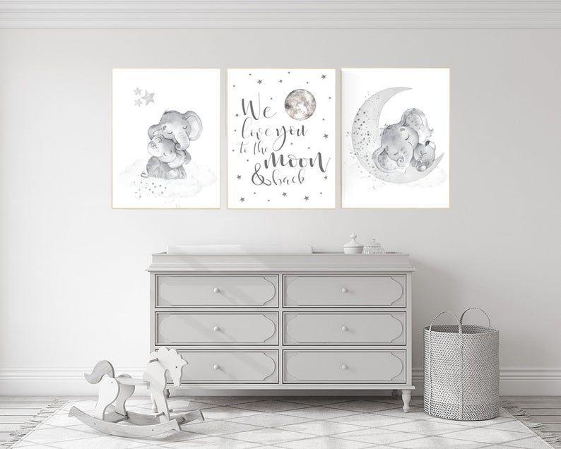 Grey Nursery Wall Art Elephant Nursery Wall Art Moon And Etsy In 2021 Grey Nursery Walls Elephant Nursery Wall Baby Room Decor