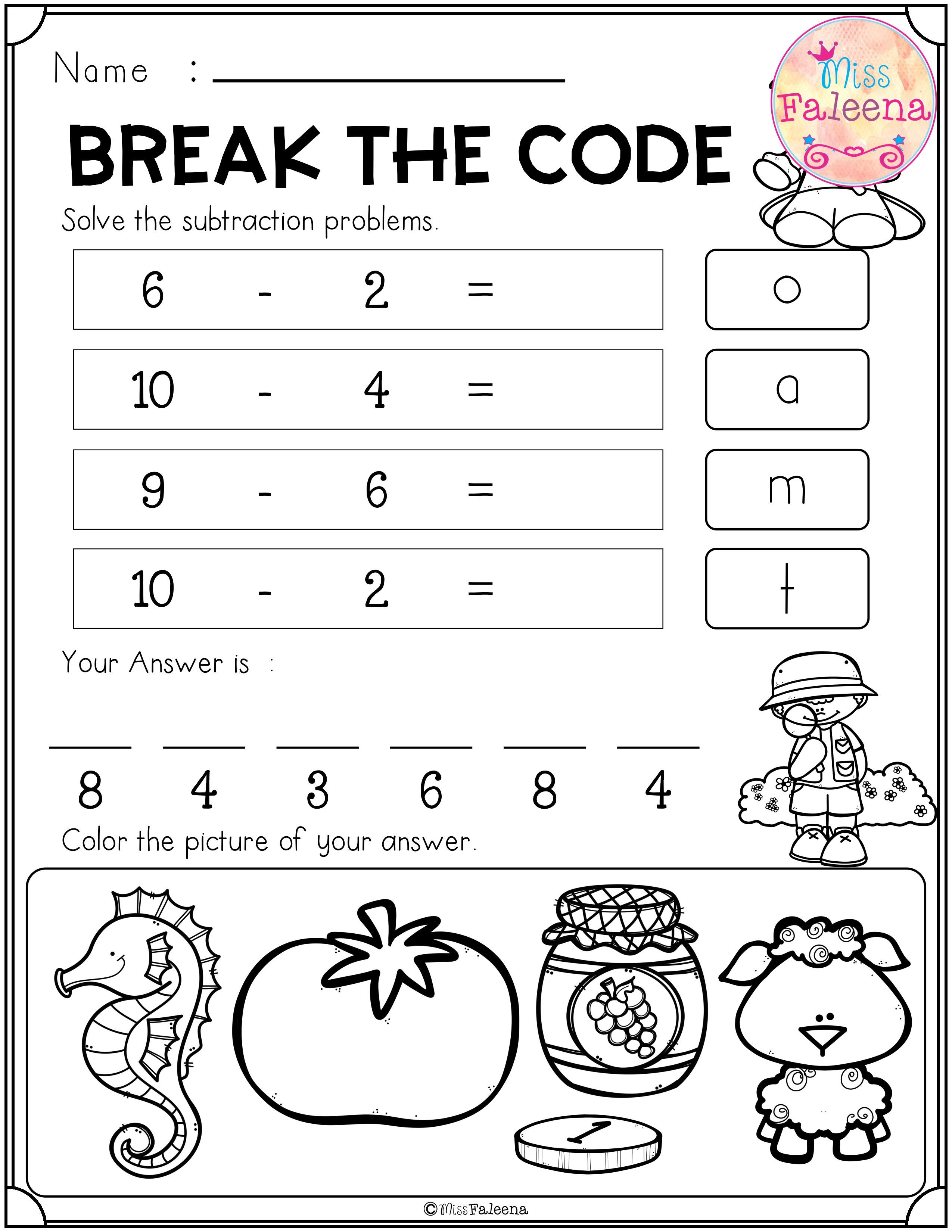 Free Break The Code Math And Beginning Sounds Has 3 Pages This Resource Helps Children To Practice Addition And Subtract Phonics Free Math Free Math Resources [ 3300 x 2550 Pixel ]