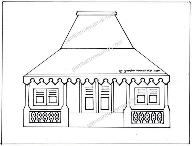 Gambar Mewarnai Rumah Adat Betawi Paud Arts Crafts Art Dan Crafts