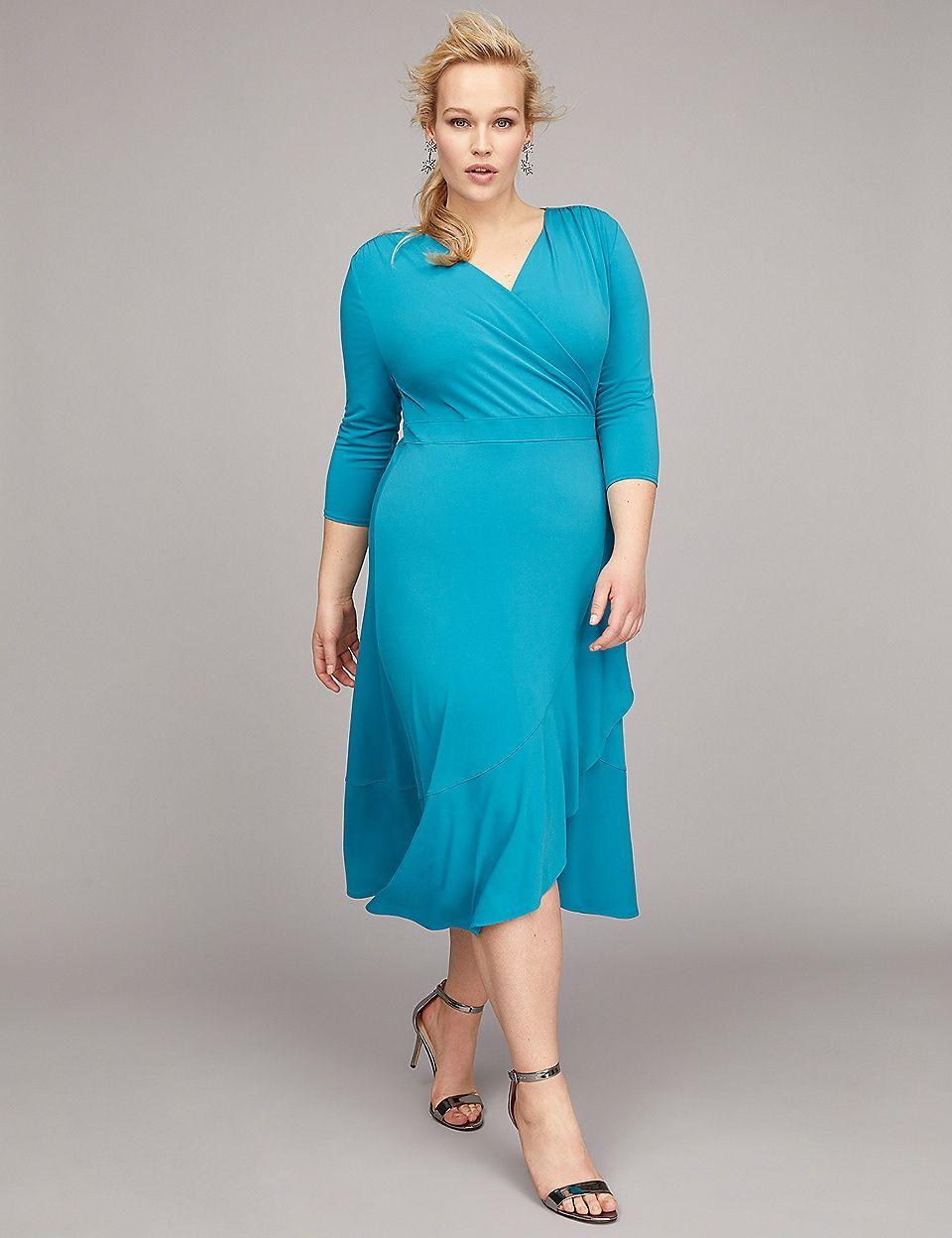 3 4 Sleeve Matte Jersey Wrap Dress Jersey Wrap Dress Dresses Plus Size Fashion For Women [ 1248 x 960 Pixel ]