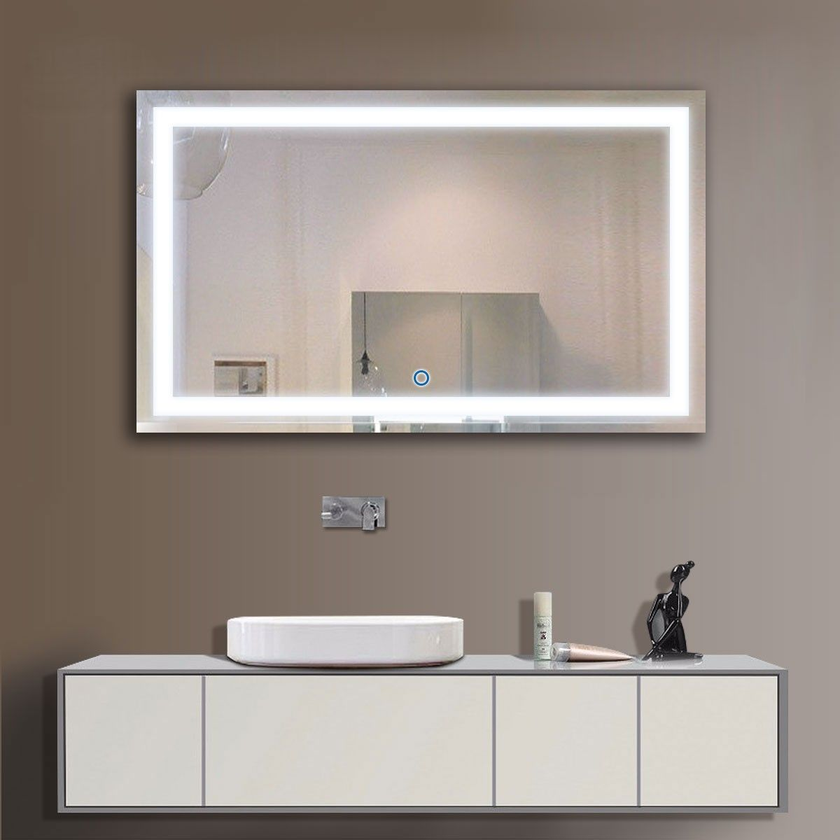 40 x 24 In Horizontal LED Bathroom Silvered Mirror Touch Button
