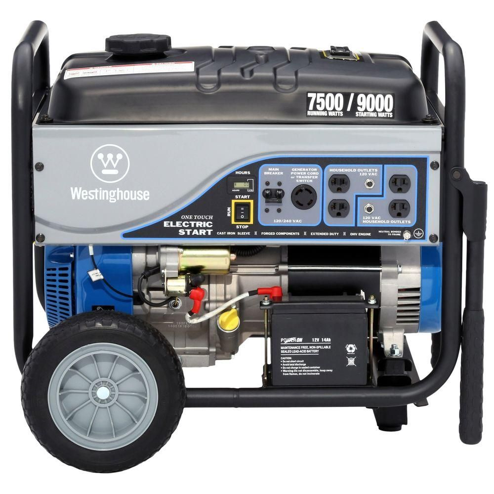 Westinghouse 7 500 Watt Gasoline Powered Electric Start Portable