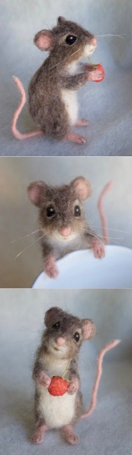 Needle Felted Mouse, Poseable Realistic Life Sized #dollsneedlefelt