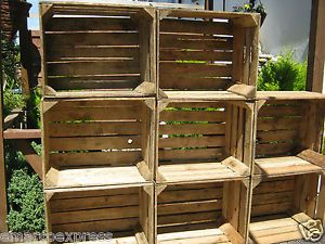1 Vintage Wooden Apple Crates Storage Box Fruit Crates Box Shabby