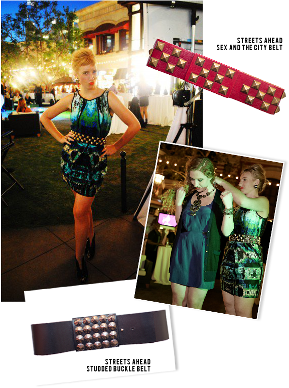 Personal stylist Kallah Maguire of EmeraldScarab.com wearing our Streets Ahead Sex & the city belt!