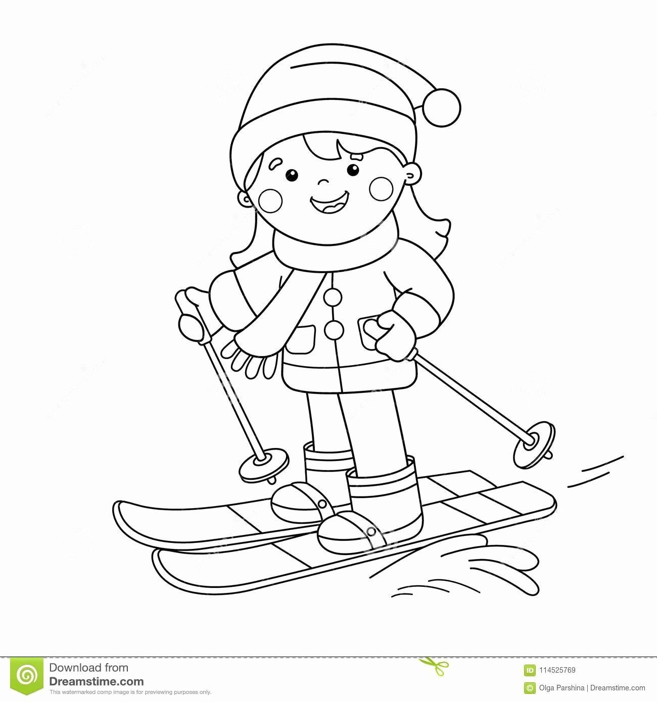 Free Sport Coloring Sheets Elegant Coloring Page Outline Cartoon Girl Skiing Winter Sports Coloring Pages Coloring Sheets Coloring Books