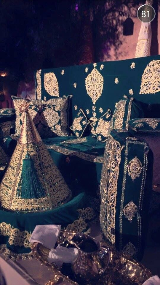 a green bride's moroccan couch for henna ceremony