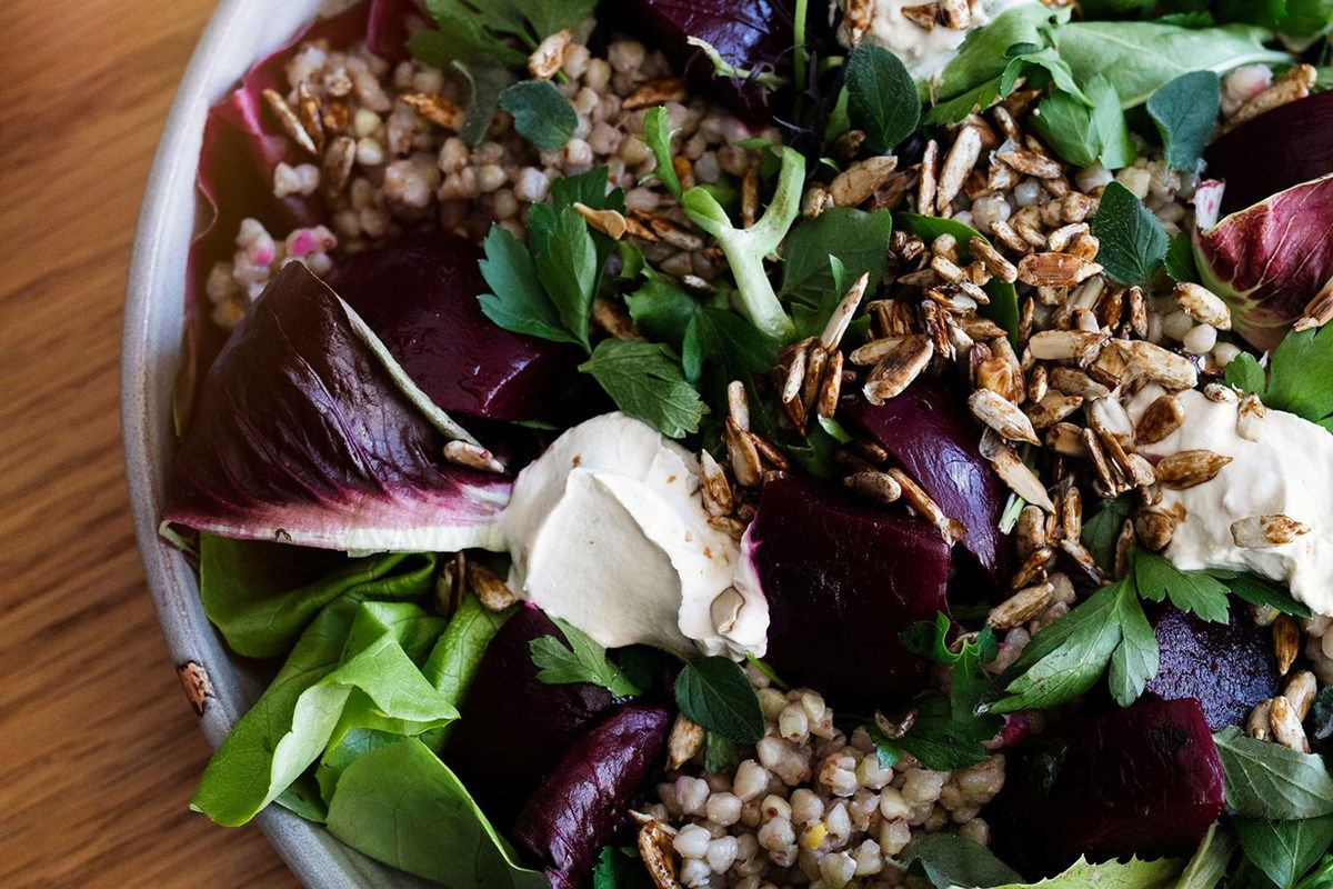 Buckwheat tabbouleh with pickled beets and quick cashew