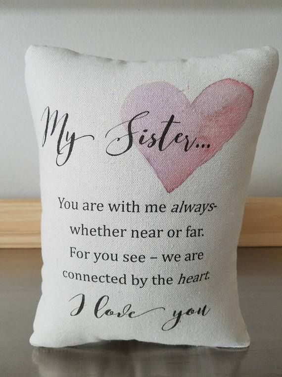 Gift For Sister Pillow Cotton Throw Love Quote Cushion Decor Sweet Meadow Designs