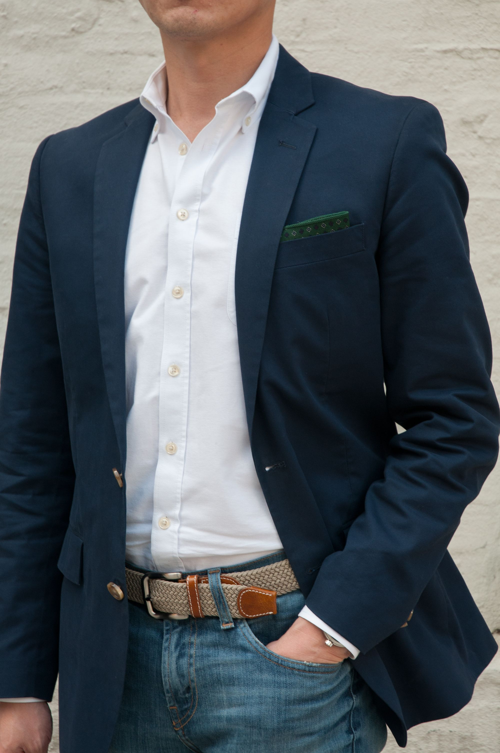 Smarten up your basic white shirt and sport coat combo