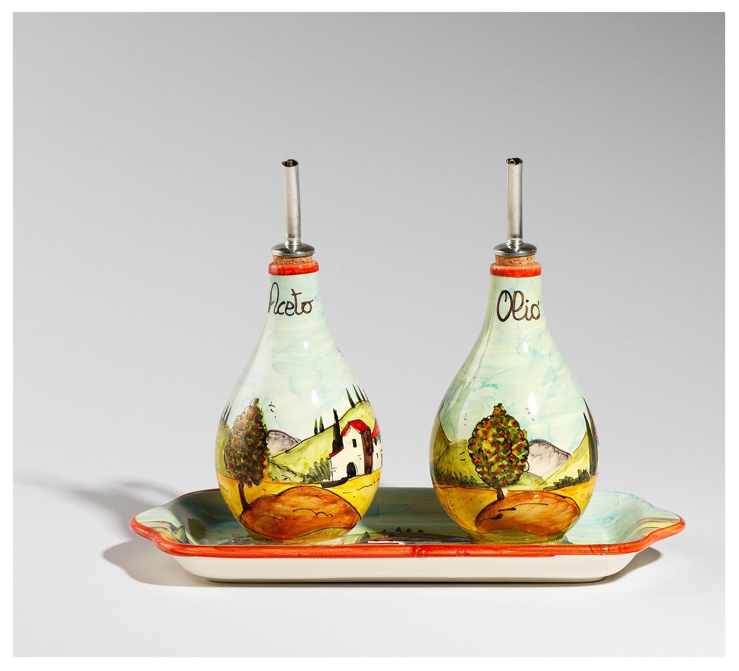 Olive oil and vinegar set - #Tuscan landscapes by Ceramiche Mori/Set ...