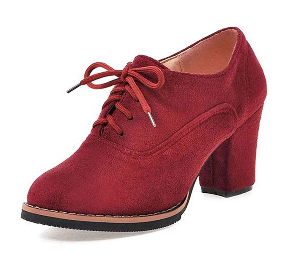 8bf3b381ac7 Aisun Women s Simple Pointed Toe Dress Wear To Work Lace Up Oxfords Shoes  Block Mid Heel Ankle Booties   Nice of you to have dropped by to see the  photo.