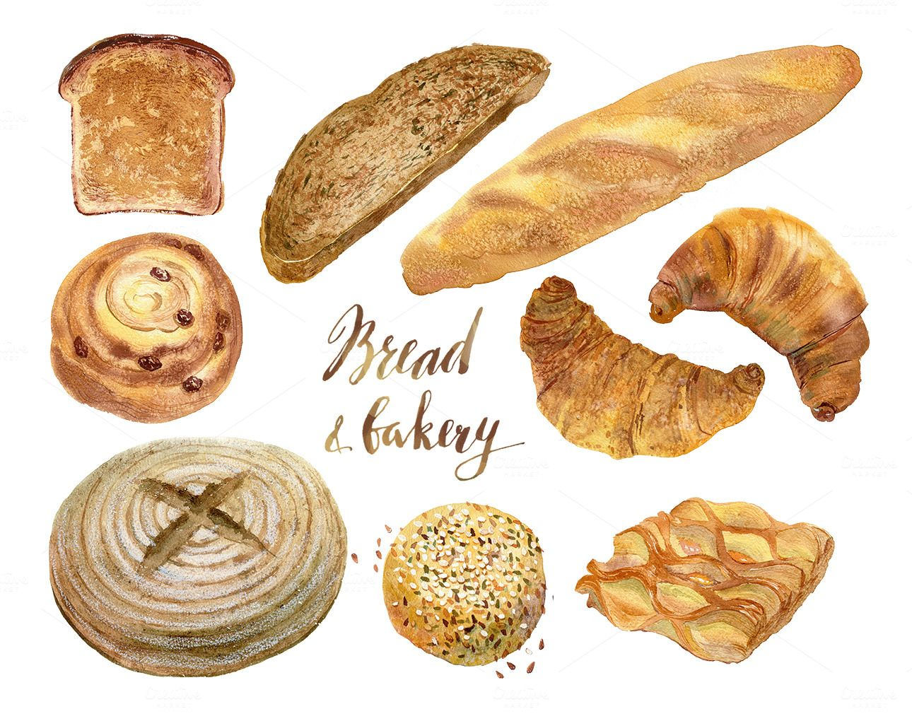 Watercolor Bakery Bread Collection Bakery Bread Bakery Food Illustrations