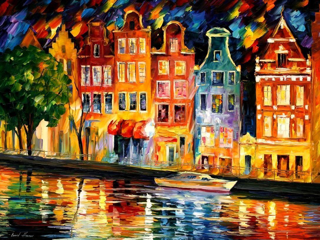 Sky Of Amsterdam — PALETTE KNIFE Oil Painting  #LeonidAfremov