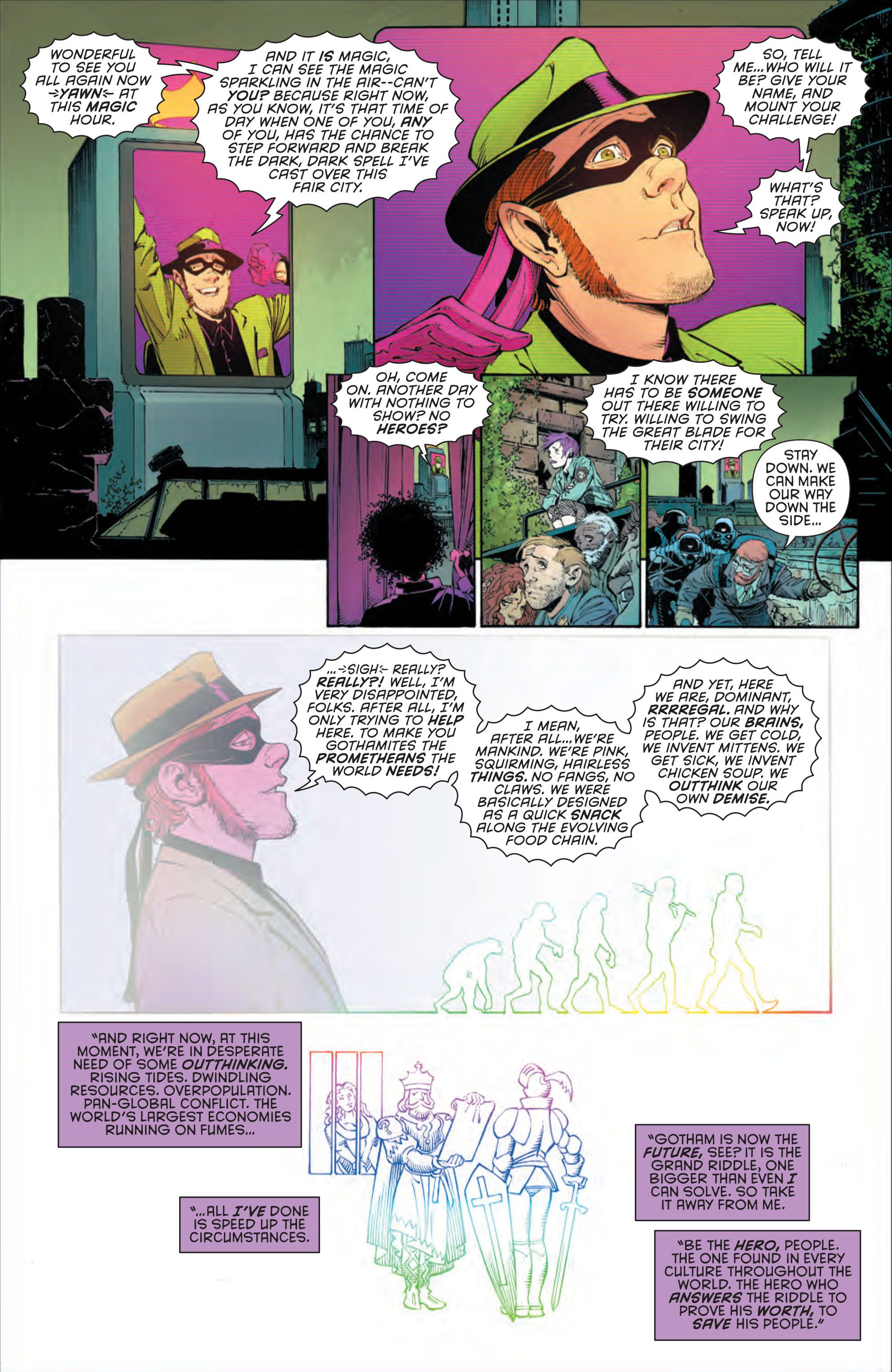 The Riddler makes his daily challenge to Gotham on Page 16 of Batman #30. The images of the evolution of humans and a medieval scene are nods to Edward Nygma's thinking and to research that Scott Snyder and Marguerite Bennett did into the lore of riddles.