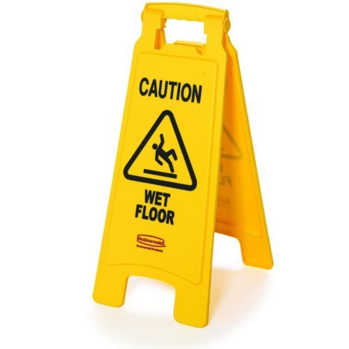 Rubbermaid Commercial Floor Safety Sign Caution Wet Floor Imprint 2 Sided Yellow Wet Floor Signs Wet Floor Rubbermaid Commercial Products