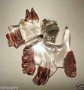 Vtg Scotty Dog Carved Lucite Pin Book Piece, Schiffer Plastic Price Guide c1950s